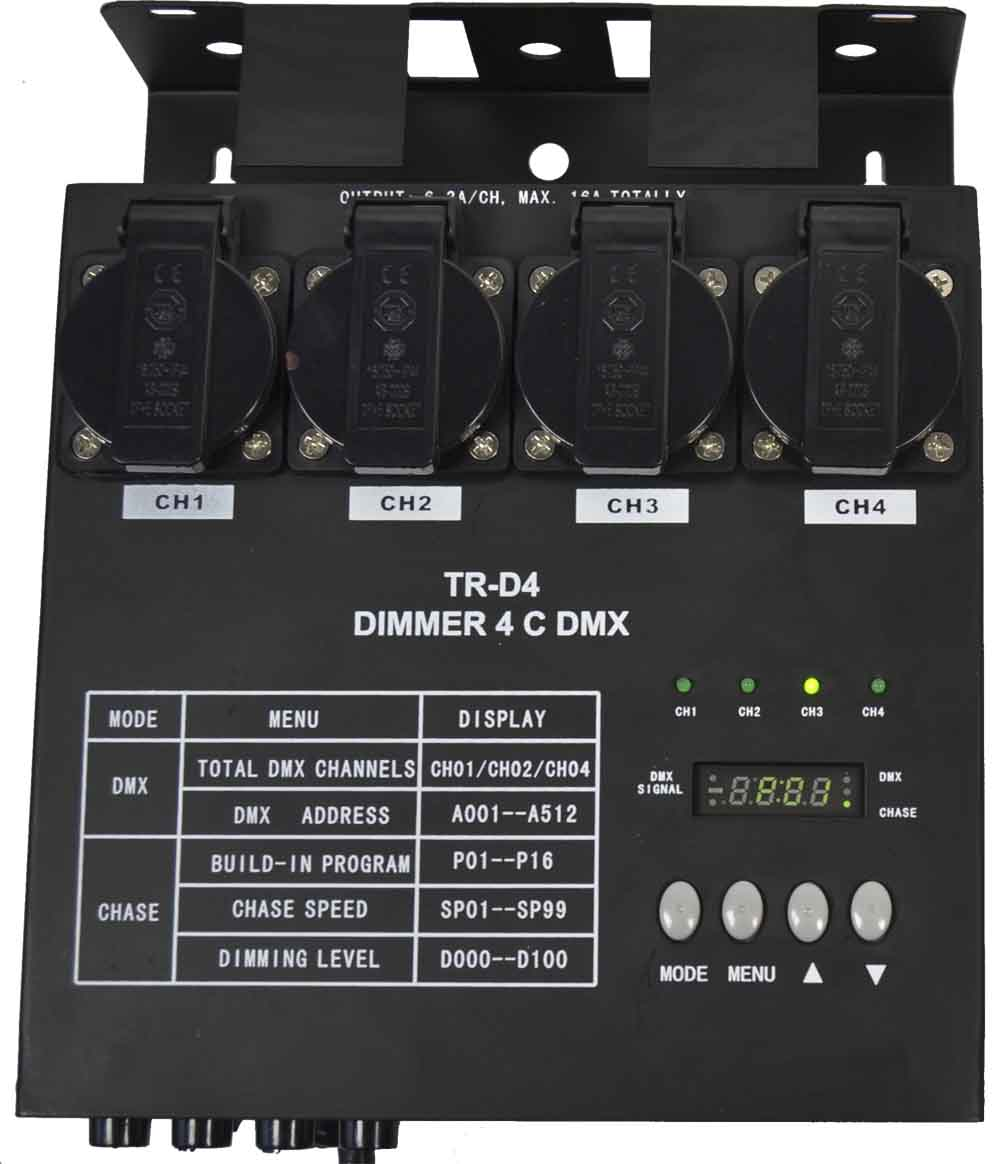 DIMMER DMX 4 CANALES. TR-D4